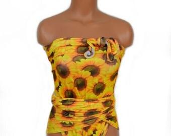 hisOpal Swimwear Sunflower Print Bathing Suit Large Wrap Around Swimsuit Classic One Piece Swimsuit High Waist Bikini Yellow Swimsuit