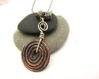 Copper Jewelry Rustic Copper Spiral Wire Wrapped Hand Forged Earthy Mixed Metal Hippie Bo Ho Pendant