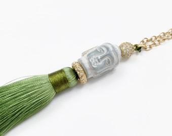 Jade Buddha Tassel Pendant Necklace - Bohemian Necklace, Buddhist Necklace, Meditation Necklace, Yoga Necklace