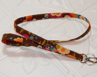 Lanyard - Fabric Lanyard - Badge Holder - Key Lanyard - Brown Print