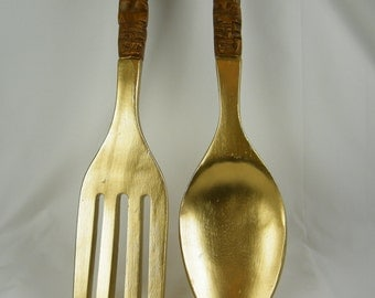 Mid Century Modern Fork and Spoon Gigantic Vintage Wall Art - Wooden Oversize Fork and Spoon Refinished in Gold Metallic - Tiki Carving