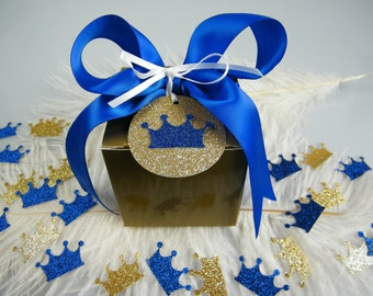 Little Royal Prince Baby Shower Gift Box Kit / Royal Blue & Gold DIY Favor Box Kit 3x3x3 /  Set of 6 / Prince Birthday / Assembly Required