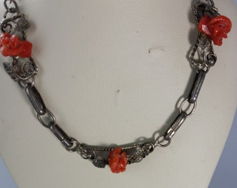 Antique Sterling Silver Carved Coral Necklace