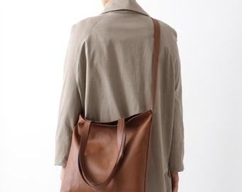 Multi-functional Tote Bag Nut Brown Leather, Dark Blue Cotton Lining, leather shopper, crossbody bag, big shoulder bag