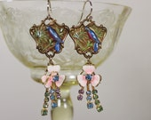 Merry Melody- Handpainted Bluebird Dangle Earrings- Antique Austrian Enamel and Crystal Drops- Pink and Pastel Colors- Antiqued Brass