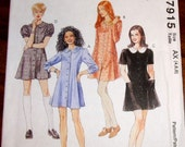 McCall's 7915 Button Down Mini Dress, Vintage Womens Misses Junior Miss Easy Sewing Pattern Size 4 6 8 Bust 29 30 31 Uncut Factory Folds