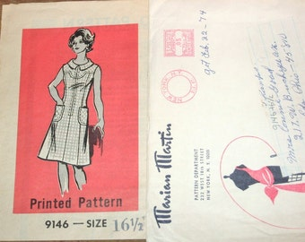 Marian Martin Zipped Dress, Shaped Yoke, Womens Misses Vintage 1970s Half Size Mail Order Sewing Pattern 9146 Bust 39 W 33 H 41 Cut Complete