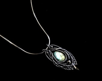 Labradorite Pendant - Wire Wrapped Fantasy Necklace -  Sterling Silver Jewelry - Gothic Collection