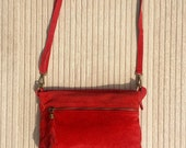 BOHO  suede leather bag in RED. Soft natural leather bag with tassels