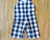 SALE, Boys Pant Overall, Black/White Gingham - Size 9-12m