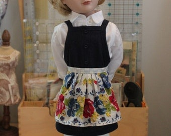 Apron Upcycled from Vintage Hanky for 16 Inch Doll, MAC16a