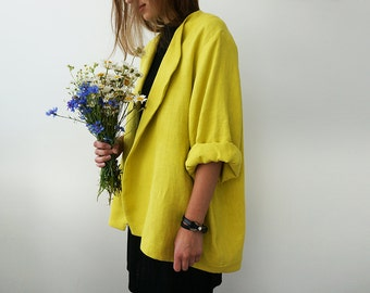 Mustard linen jacket for woman, Linen cardigan, Loose fit women's jacket, Linen women's clothing, Linen sweater, Summer jacket, LHI wear