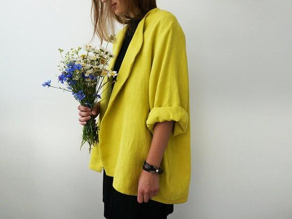 Mustard linen jacket for woman, Linen cardigan, Loose fit women's jacket, Linen women's clothing, Linen sweater, Summer jacket, LHI wear