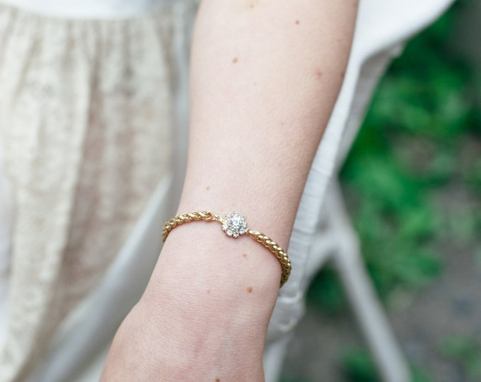 NEW Zellige Bracelet - gold plated 18k swarovski cristal snake chain -  bridal dainty bangle - boho bracelet art nouveau - wedding jewelry