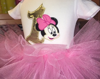 Inspired Minnie Mouse Gold Pink Applique Birthday Onesie or SHIRT only Embroider Party 12M 18M 24M Two Second or First Birthday One Two