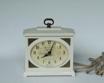 Vintage White Westclox Electric Alarm Clock