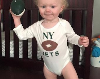 Football Onesie, I love Football, Favorite NFL Team,New York Jets Football,Onesie, Burp Cloth, Leg Warmers, Personalized