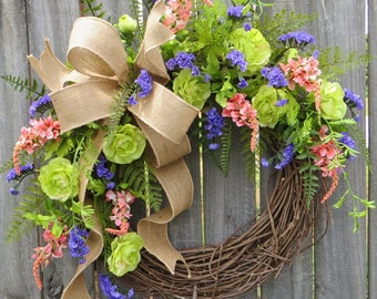 Wild Rose Wreath, Spring and Summer Wreath, Burlap, Purple, Peach, Green, Mixed Fern Wreath, Front Door Wreath, Burlap Wreath, Housewarming