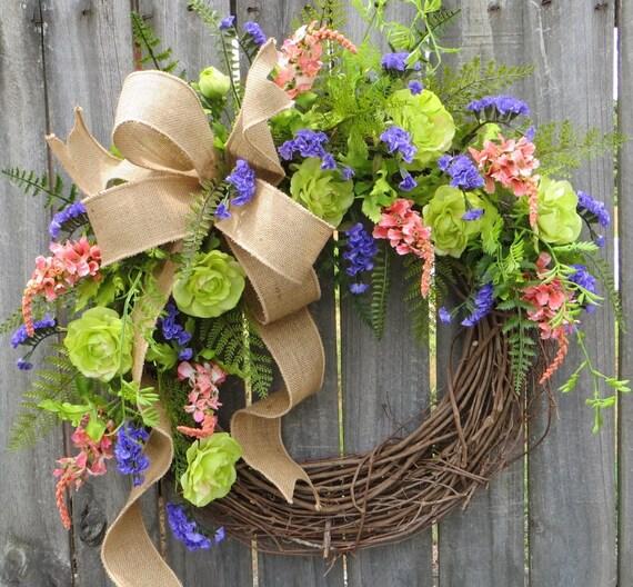 Wild Rose Wreath, Spring and Summer Wreath, Burlap, Purple, Peach, Green, Mixed Fern Wreath, Front Door Wreath, Burlap Wreath, Housewarming