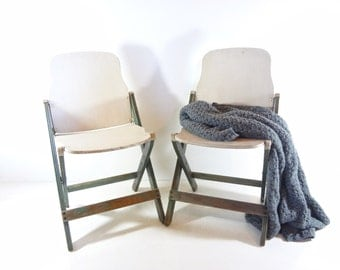 RESERVED - Vintage Set of Wood Folding Chair, Rustic Furniture, Wooden Folding Chairs