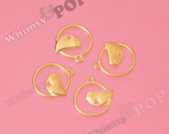Gold Tone Perched Bird Charms, Bird Charms, Bird Findings, Modern Bird Charm, 55mm (R9-067)