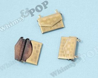 5 - 3D Antique Bronze Envelope Purse Handbag Charm Pendant, Handbag Charm, Purse Charm, 18mm x 20mm x 3.5mm (6-4E)