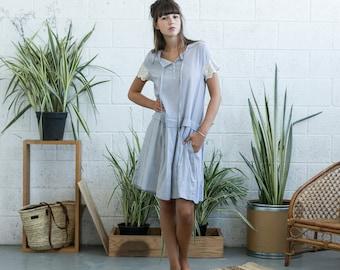 Drop waist midi dress with lace detail ,Light grey linen summer dress