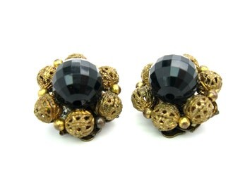 Black & Filigree Earrings. Signed Lisner. Flower Clusters. Lucite Faceted Beads. Gold Gilt Clip On. Vintage 1960s Hollywood Regency Jewelry.