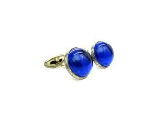 Art Deco Cuff Links. Cobalt Blue Lucite Cabochons. Silver Tone. Vintage 1930s Mens Wedding Formal Retro Dress up Accessory