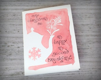 May Christmas be as happy as second Breakfast- Watercolor print Card- Lord of the Rings/Hobbit inspired- blank inside