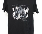 Vintage Bishop Castle T Shirt Mens Medium Unisex Womens Cluster County Colorado CO Rye Black Screen Stars Soft Thin