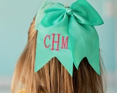 Monogrammed Bows- preppy bows, large bows, hairbows, personalized, seersucker bow, Easter bow, chambray bow