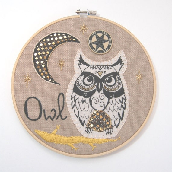 Owl Embroidery Hoop, owl wall art, bird embroidery, hand embroidered owl,  hand stitched owl, owl picture, owl wall hanging, owl art