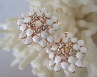 Mother's Rose Gold White Enameled Chrysanthemum Earrings