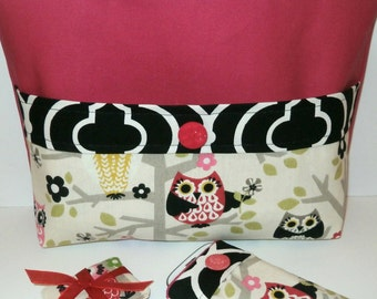 Cute Owl Purse Set, Tote Bag, Fabric Phone Case and Scent Sachet, Hot Pink, Black, Gift Set