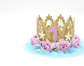 Mermaid flower birthday crown with starfish || gold + lavender + aqua || customize any age || photography prop || Ready to Ship