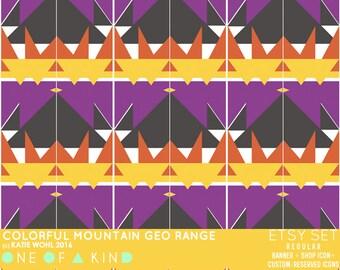 Colorful Mountain Geo Range - etsy set