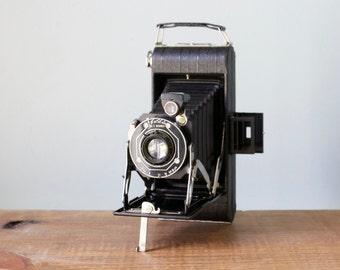 1930's Black Eastman Kodak Junior Six 16 Camera with Bimat Lens and Folding Bellows
