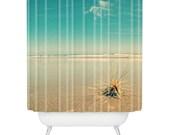 Shower Curtain: Dream Beach Holiday. Sandy Beach. Blue Skies. Shabby Chic Décor. Bathroom Décor. Home Décor. Bathroom Accessories. Homeware