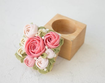 Pink Flower Ranunculus Ring Box Wholesale Wood Square Engagement Marriage Offer Ring Holder Ring Case Wedding Bridal Birthday Home Decor