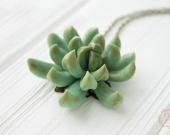 Big Green Succulent Planter Necklace Wholesale 5 cm Succulent Plants Arrangement Succulent Jewelry Birthday Mother Mom Gifts Wedding Gifts