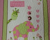 Pink Elephant Baby Quilt, Giraffe Baby Quilt Blanket, Best Friends Baby Girl Blanket