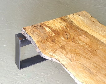 live edge coffee table from urban salvage maple and high recycled content steel