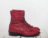 8 M | Larry Mahan Red Feather Stitch Lace Up Ropers