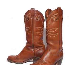 9.5 D | Men's Wrangler Buckaroo Brown Western Cowboy Boots