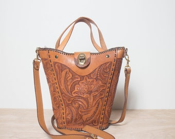 Vintage Tooled Leather Bucket Bag Floral Print Handbag