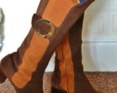 Vintage 1960s suede boots brown orange two-tone US 7B UK 4.5 zip up psychedelic mod