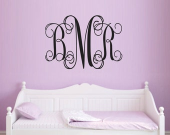 Personalized Monogram Wall Decal - Children Wall Decal - Nursery Wall Decal - Wedding Monogram Decal - Vinyl Lettering