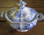 Antique Staffordshire Blue and White English Transferware Sugar Bowl Toureen Farmhouse