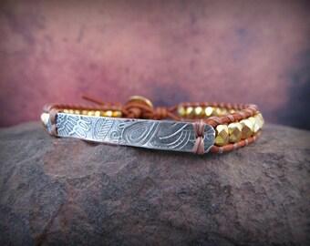Artisan Leather Bracelet - Gold and Leather - Skinny, petite,  boho chic by GlowCreek